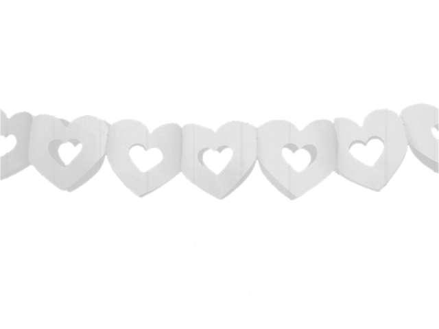 """Girlanda bibułowa """"Serca podwójne"""", białe, 300 cm"""