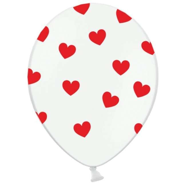 "Balony 14"", ""Serca"", STRONG, pastel white/red, 50 szt"