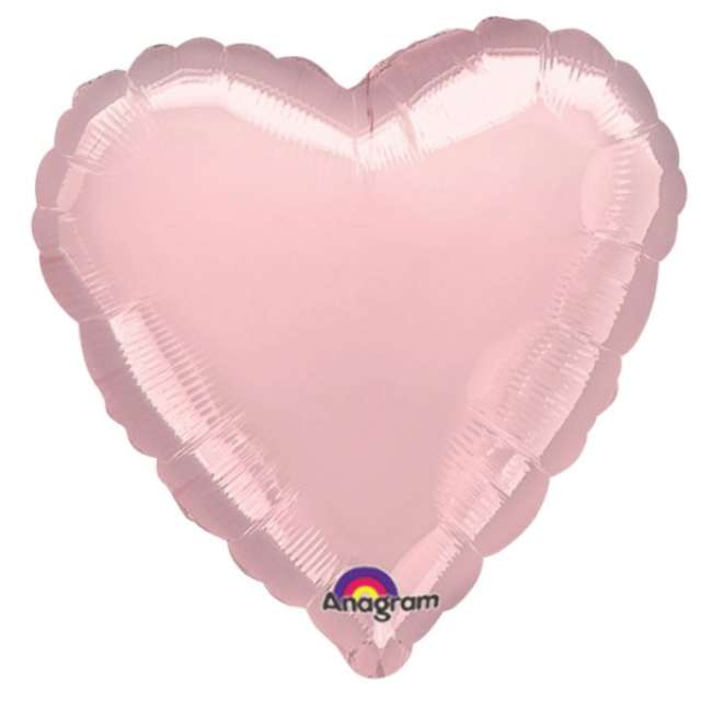 "Balon foliowy 18"" HRT pastel, kolor j.różowy, 1szt serce"
