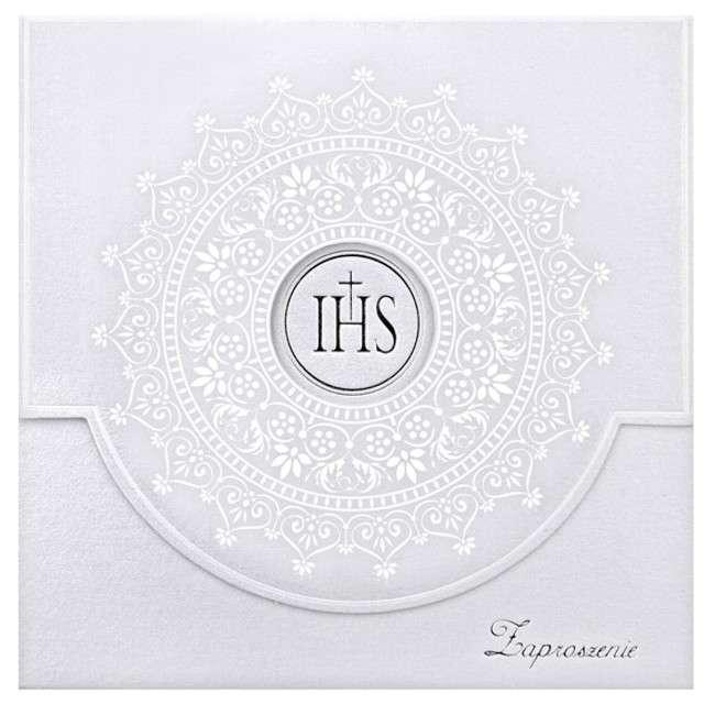Zaproszenia komunijne z białym ornamentem,10sz,1op