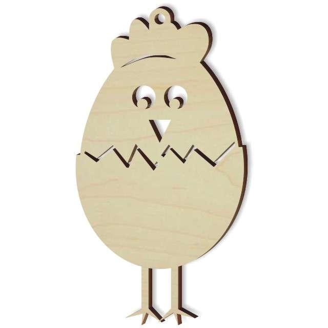 """Zawieszka drewniana """"Kurczaczek w jajku"""", 48x85 mm, 10 szt"""