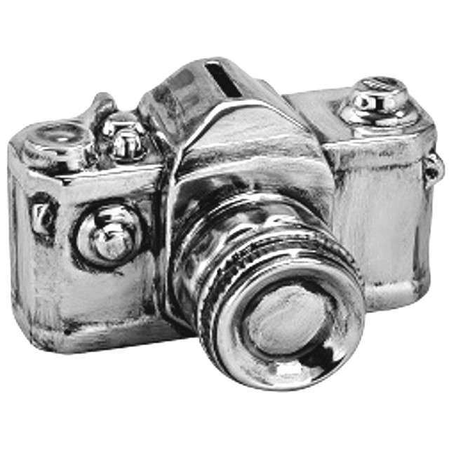 """Skarbonka """"Aparat fotograficzny"""", ceramiczna, srebrna"""