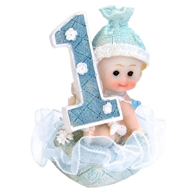 """Figurka na tort """"1 urodziny chłopiec"""", błękitna, 7 cm"""