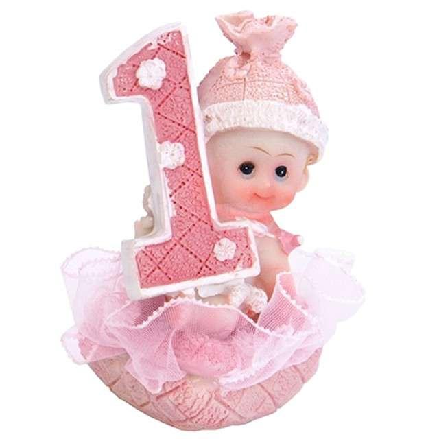 Figurka 1 Urodziny, Dziewczynka, różowa, 7 cm