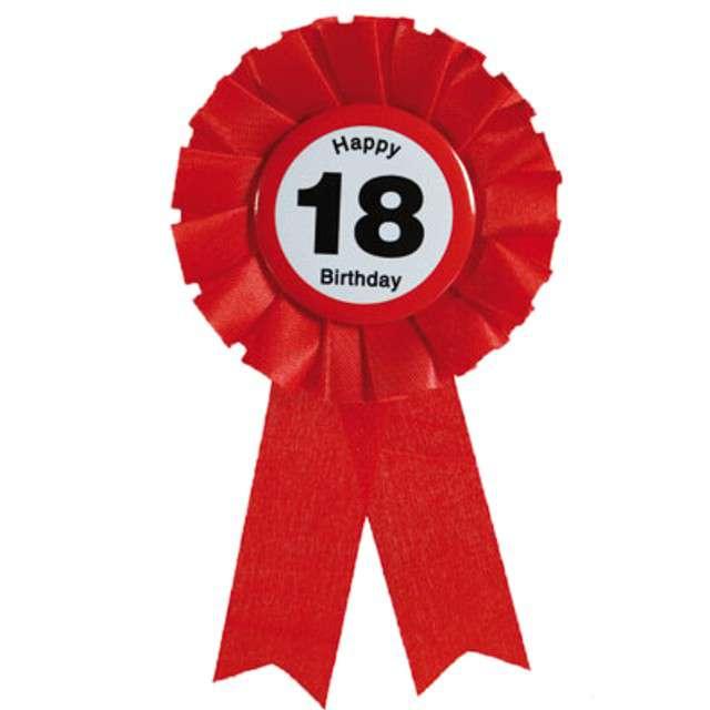 """Kotylion """"Urodziny 18 Happy Birthday"""", czerwony, Out of The Blue"""