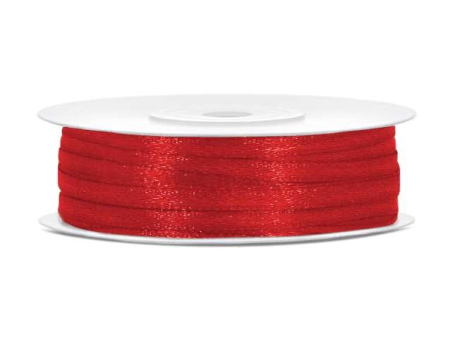 Tasiemka satynowa, czerwona, 3 mm / 50 m