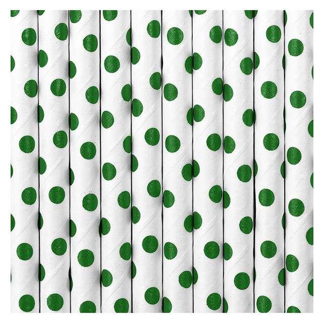Słomki papierowe w kropki białe/zielone 195 cm 10 szt