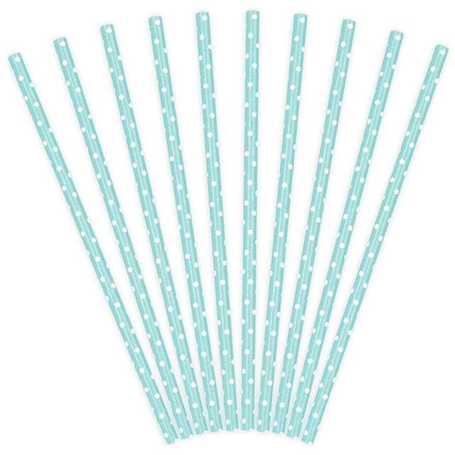 Słomki papierowe w kropki, błękitne/białe, 19,5 cm, 10 szt
