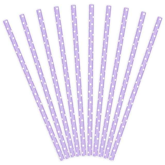 Słomki papierowe w kropki, liliowe/białe, 19,5 cm, 10 szt