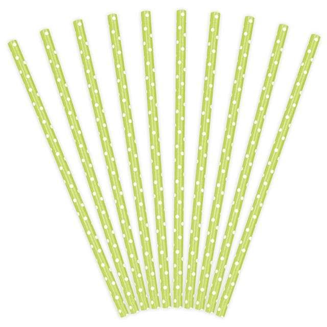 Słomki papierowe w kropki, zielone jab./białe, 19,5 cm, 10 szt