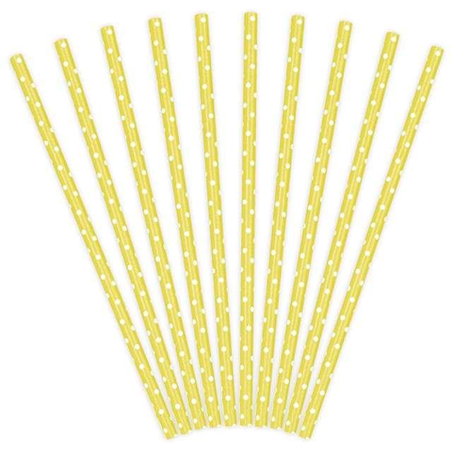 Słomki papierowe w kropki, żółte/białe, 19,5 cm, 10 szt