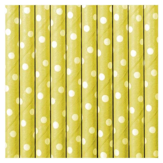 Słomki papierowe w kropki żółte/białe 195 cm 10 szt