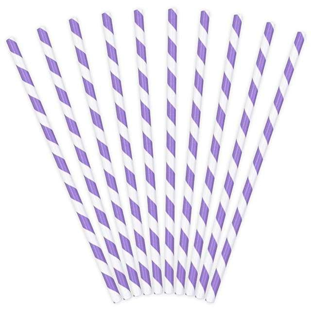 Słomki papierowe w paski, liliowe, 19,5 cm, 10 szt