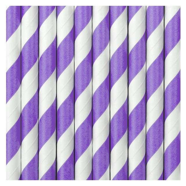 Słomki papierowe w paski liliowe 195 cm 10 szt
