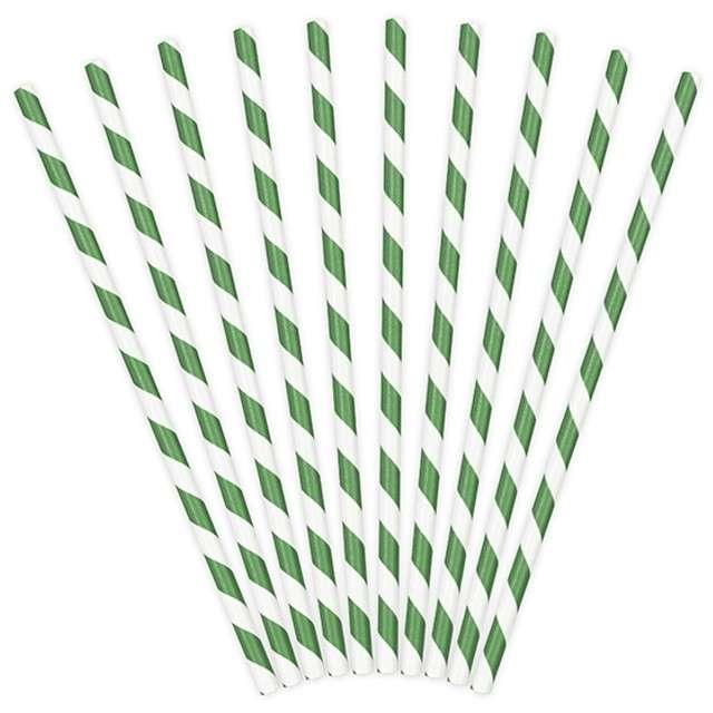 Słomki papierowe w paski, zielone, 19,5 cm, 10 szt