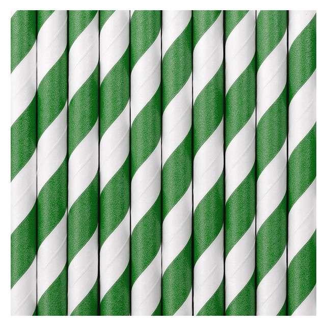Słomki papierowe w paski zielone 195 cm 10 szt