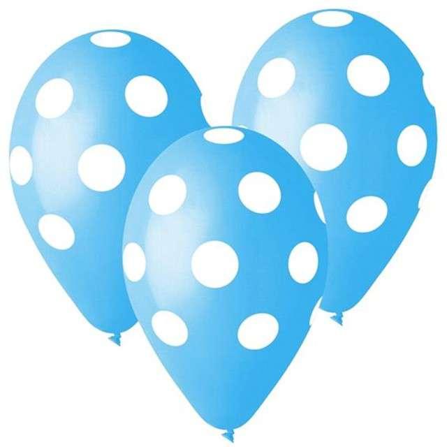 """Balony 12"""", """"Grochy"""", błękitne, 5 szt"""