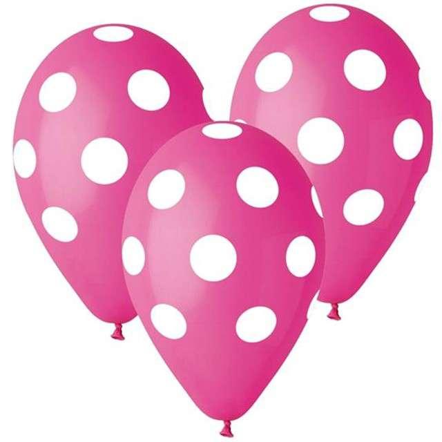 """Balony 12"""", """"Grochy"""", różowe, 5 szt"""