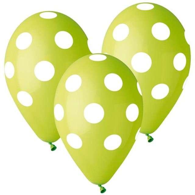 """Balony 12"""", """"Grochy"""", zielone, 5 szt"""