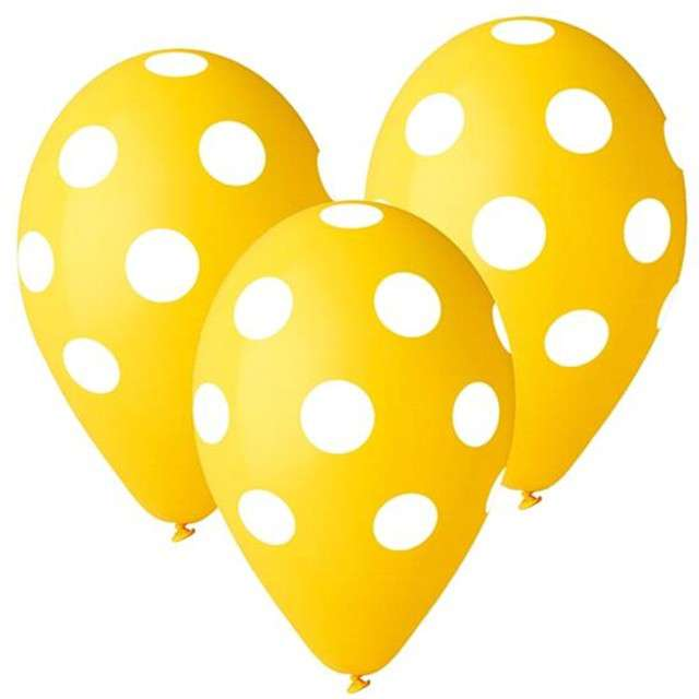"Balony 12"", ""Grochy"", żółte, 5 szt"