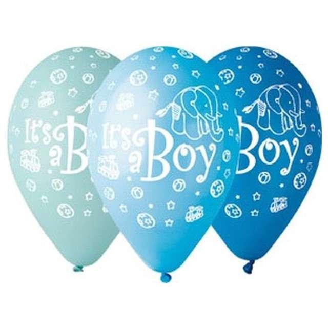 """Balony 12"""", """"Its a Boy"""", GEMAR, mix błękitne, 5 szt"""