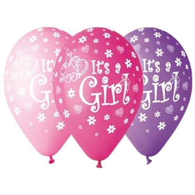 """Balony 12"""", """"Its a Girl"""", GEMAR, mix różowe, 5 szt"""