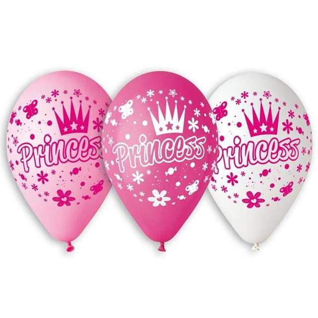 """Balony 12"""", """"Księżniczki"""", GEMAR, mix pink, 5 szt"""