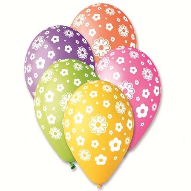 """Balony 12"""", """"Kwiatuszki"""", GEMAR, mix, 25 szt"""