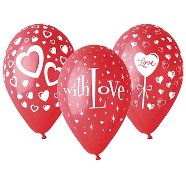 """Balony 12"""", """"Love"""", GEMAR, czerwone, 25 szt"""