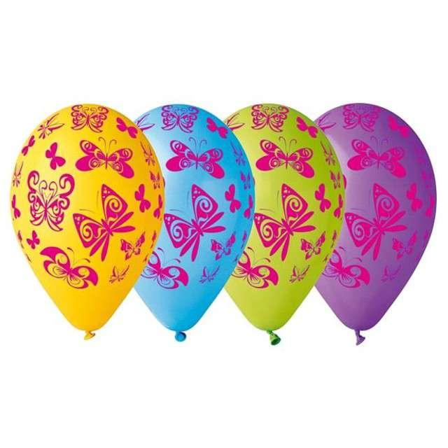 """Balony 12"""", """"Motylki"""", GEMAR, mix, 5 szt"""