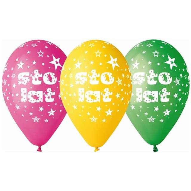 """Balony 12"""", """"Sto Lat"""", GEMAR, pastel mix, 5 szt"""