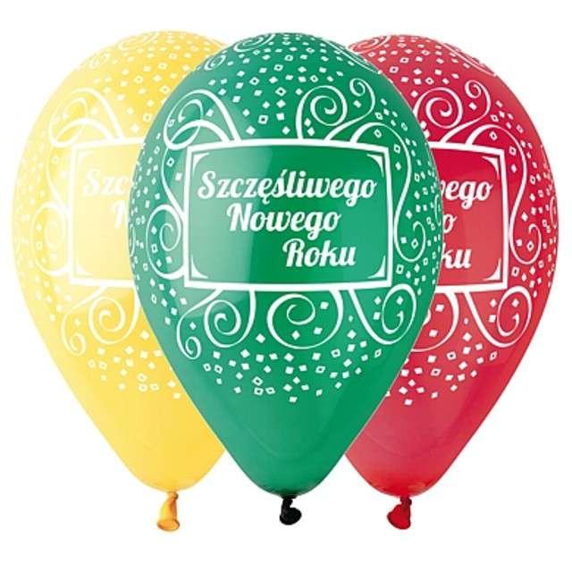 """Balony 12"""", """"Szczęśliwego Nowego ROku"""", GEMAR, MIX, 5 szt"""