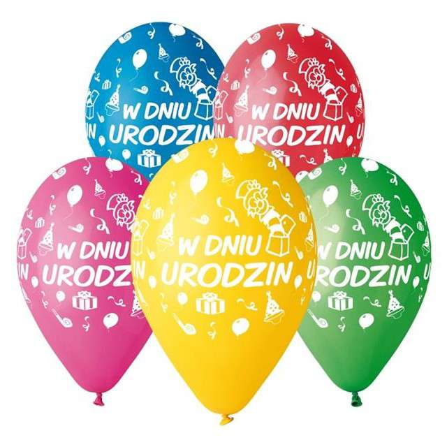 """Balony 12"""", """"W dniu urodzin"""", GEMAR, MIX, 5 szt"""