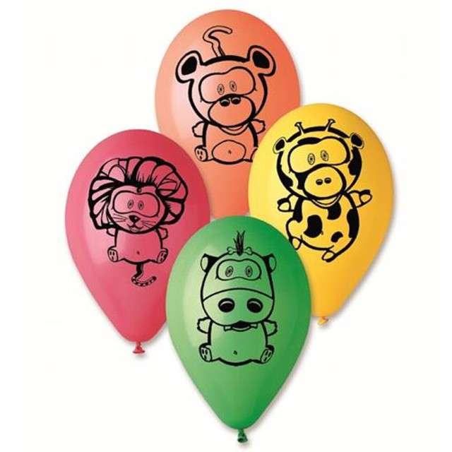 """Balony 12"""", """"Zwierzęta z Jungli"""", GEMAR, mix, 5 szt"""