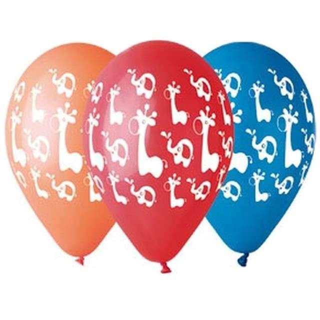 """Balony 12"""", """"Żyrafy i Słoniki"""", GEMAR, mix, 5 szt"""