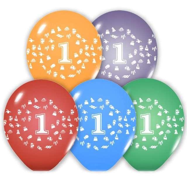 """Balony 12"""", """"Liczba  1"""", BELBAL, pastel mix, 5 szt"""