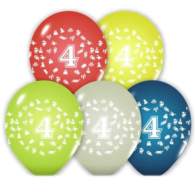 """Balony 12"""", """"Liczba  4"""", BELBAL, pastel mix, 5 szt"""
