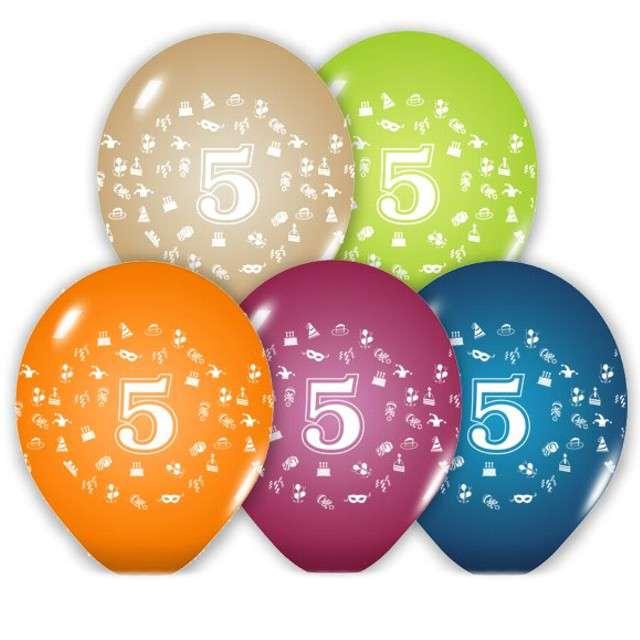 """Balony 12"""", """"Liczba  5"""", BELBAL, pastel mix, 5 szt"""