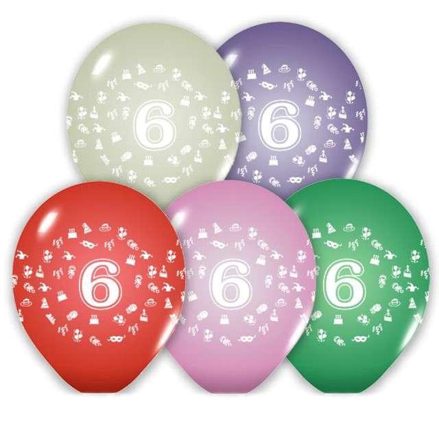 """Balony 12"""", """"Liczba  6"""", BELBAL, pastel mix, 5 szt"""