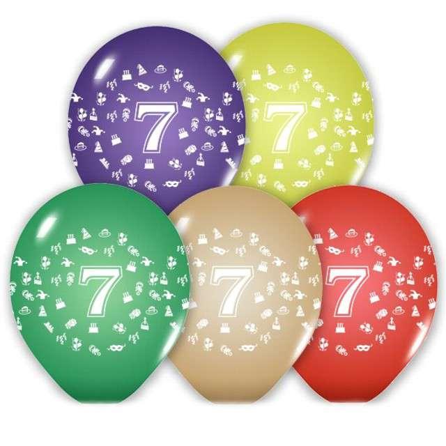 """Balony 12"""", """"Liczba  7"""", BELBAL, pastel mix, 5 szt"""