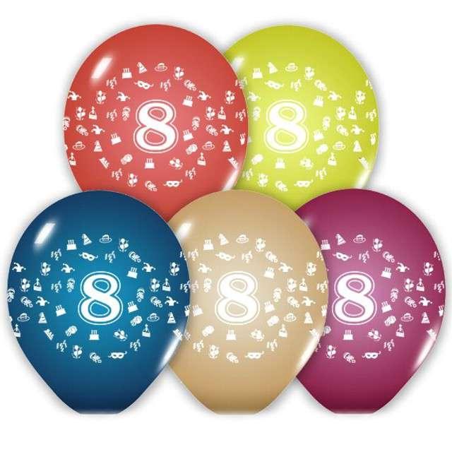"""Balony 12"""", """"Liczba  8"""", BELBAL, pastel mix, 5 szt"""