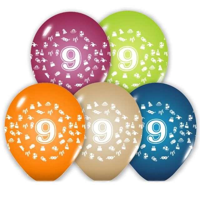 """Balony 12"""", """"Liczba  9"""", BELBAL, pastel mix, 5 szt"""
