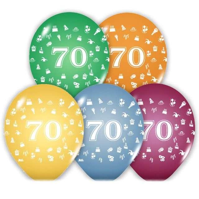 """Balony 12"""", """"Liczba 70"""", BELBAL, pastel mix, 5 szt"""