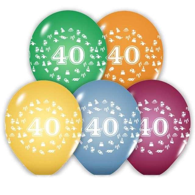 """Balony 12"""", """"Liczba 40"""", BELBAL, pastel mix, 5 szt"""