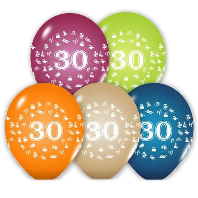 """Balony 12"""", """"Liczba 30"""", BELBAL, pastel mix, 5 szt"""