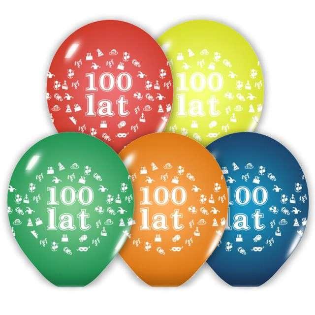 """Balony 12"""", """"100 Lat"""", BELBAL, pastel mix, 5 szt"""