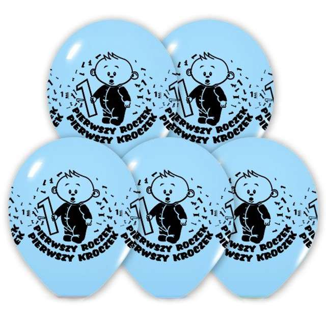 "Balony 12"", ""Roczek"", BELBAL, błękitne, 5 szt"