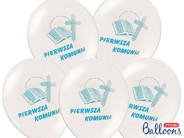 Balony 12 I Komunia Św. STRONG White Blue 50 szt