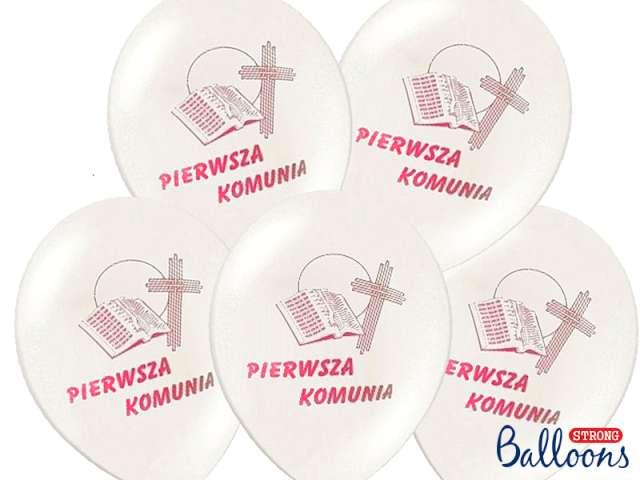 Balony 12 I Komunia Św. STRONG White Pink 50szt
