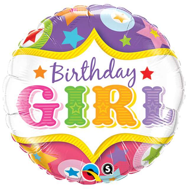 "Balon foliowy ""Happy Birthday Girl"", Qualatex, 18"" RND"
